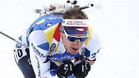 Český biatlonista Ondřej Moravec během vytrvalostního závodu na mistrovství světa v italské Anterselvě.