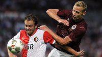 Proti Feyenoordu to Jiřímu Jarošíkovi (vpravo) a spol. vyšlo. Teď proti nim stojí Bilbao.