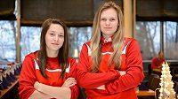 Hana Sládečková (vlevo) a Denisa Ratajová, hráčky finského SB-Pro a opory florbalové reprezentace.