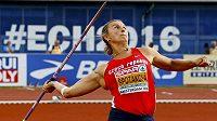 Barbora Špotáková během oštěpařského finále na atletickém mistrovství Evropy v Amsterdamu.