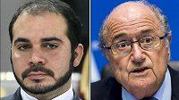 Kandidáti na prezidenta FIFA - jordánský princ Alí bin Husajn a dlouholetý šéf světového fotbalu Sepp Blatter (vpravo).