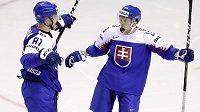 Slovenský hokejista Erik Černák slaví gól v síti USA v utkání mistrovství světa se spoluhráčem Michalem Krištofem.