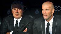 Zinédine Zidane (vpravo) a trenér Bílého baletu Carlo Ancelotti.