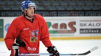 Hokejista Václav Nedorost během tréninku české hokejové reprezentace.