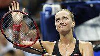 Spokojená Petra Kvitová děkuje divákům, česká jednička právě postoupila do čtvrtfinále US Open.