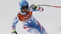 Rakušan Matthias Mayer se raduje v cíli olympijského sjezdu.