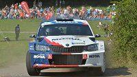 Roman Kresta se Škodou Fabia R5 na trati Barum rallye 2017.
