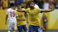 Brazilec Neymar se raduje z úvodního gólu proti Japonsku na Poháru FIFA.
