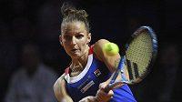 Česká tenistka Karolína Plíšková v nedělní dvouhře fedcupového semifinále.