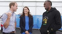 Princ William, vévodkyně z Cambridge Kate a sprinter Usain Bolt během her Commonwealthu.