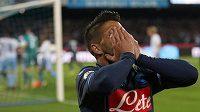 Smutný fotbalista Neapole Lorenzo Insigne.