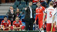 Trenér Radim Cepek udílí pokyny Tomu Ondruškovi v zápase proti Norsku.