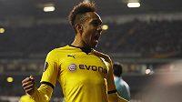 Útočník Dortmundu Pierre Emerick Aubameyang se v odvetě EL na Tottenhamu dvakrát zapsal mezi střelce.