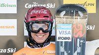 Snowboardistka Ester Ledecká po závodě Světového poháru v italské Carezze.