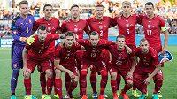 Mužstvo české reprezentace před utkáním s Arménií.