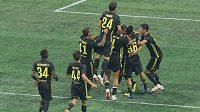 Fotbalisté Juventusu oslavují vítězství nad výběrem hráčů MLS.