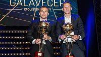 Nejlepší střelci fotbalové sezóny David Lafata (vlevo) a Milan Škoda během slavnostního Galavečera.