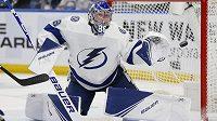 Brankář Tampy Bay Andrej Vasilevskij v utkání NHL proti Buffalu.