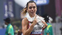 Anežka Drahotová při chodeckém závodě na 20 km v Dauhá.