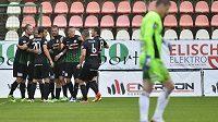 Hráči Příbrami se radují v duelu s Teplicemi z vůbec prvního ligového gólu v sezóně.