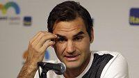 Švýcar Roger Federer na tiskové konferenci v Miami.