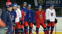 Česká hokejová reprezentace na tréninku v kempu před mistrovstvím světa.