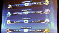 Takto vypadá los čtvrtfinále fotbalové Ligy mistrů.