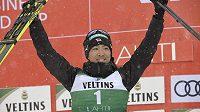 Akito Watabe, vítěz závodů SP v severské kombinaci v Lahti.