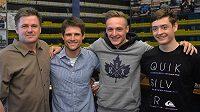 Nejlepším trenérem sdruženářů byl vyhlášen Marek Šablatura (vlevo), vedle něj Miroslav Dvořák, vítěz Tomáš Portyk a nejlepší junior Ondřej Pažout.
