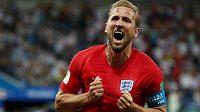 Kapitán anglické reprezentace Harry Kane krátce poté, co vstřelil druhý gól v utkání proti Tunisku.