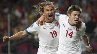 To bude dvojka, těší se ve Wolfsburgu... Václav Pilař (vpravo) se raduje společně s Petrem Jiráčkem.