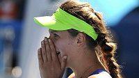 Běloruská tenistka Viktoria Azarenková se raduje z postupu do finále v Melbourne.