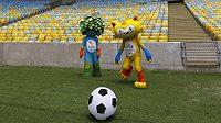 Maskoti olympijských her 2016 v Brazílii Vinicius (vpravo) a Tom.
