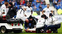 Fotbalista Lyonu Martin Terrier zkolaboval na hřišti během 21. kola Ligue 1.