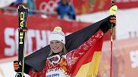 Německá lyžařka Maria Höflová-Rieschová slaví zlatou medaili v superkombinaci na hrách v Soči.