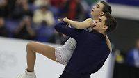 Anna Dušková a Martin Bidař při volné jízdě na mistrovství Evropy v Ostravě.