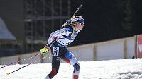 Česká reprezentantka Markéta Davidová v závodu s hromadným startem během Světového poháru v Novém Městě na Moravě.