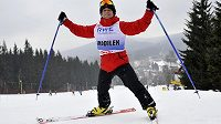 Vodní slalomář Vavřinec Hradilek na lyžařské exhibici v Harrachově.