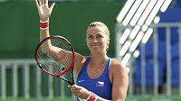 Petra Kvitová je spokojená. S Ukrajinkou Jelenou Svitolinovou prohrála ve čtvrtfinále olympijského turnaje pouhé dva gamy.