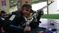 Střelkyně Kateřina Emmons na tréninku v Londýně