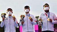 Korejští lukostřelci obhájili Kim Če-tok, Kim U-čin, O Čin-hjek obhájili olympijské zlato.