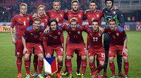 Česká fotbalová reprezentace před přátelským utkáním s Norskem.