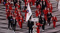 Nástup ruské výpravy na zahajovacím ceremoniálu v Tokiu