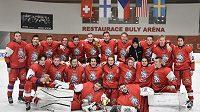 Hokejisté reprezentace do 18 let, která na turnaji v Kravařích vybojovala minulý týden v konfrontaci Švýcarska, Finska, Spojených států amerických a Švédska třetí místo.