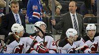 Hokejisté New Jersey Devils v utkání NHL proti New Yorku Rangers.