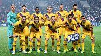 Mužstvo Barcelony v Sinobo Stadium v Praze před utkáním Ligy mistrů se Slavií.
