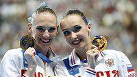 Ruská mistryně světa Natalja Iščenková (vpravo) a její v pořadí nakonec druhá krajanka Světlana Romašinová.