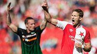 Útočník Slavie Praha Milan Škoda oslavuje gól na 2:0 proti Příbrami.