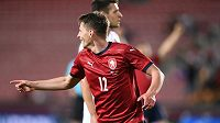 Lukáš Masopust slaví svůj gól v přátelském utkání proti Albánii.