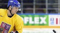 Petr Koukal na tréninku české hokejové reprezentace v Moskvě.